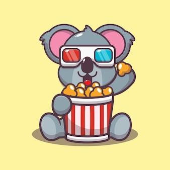 Simpatico koala che mangia popcorn e guarda un film in 3d
