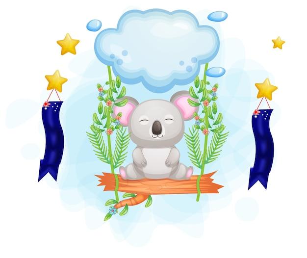 Koala sveglio che galleggia nell'aria con l'illustrazione floreale