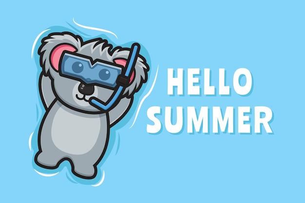 Il simpatico koala galleggiante si rilassa con un'illustrazione dell'icona del fumetto dell'insegna di saluto dell'estate