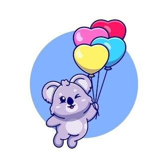 Koala sveglio che galleggia con il fumetto del pallone