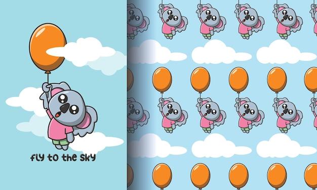 Simpatico koala che vola con un palloncino. set di illustrazioni e modelli