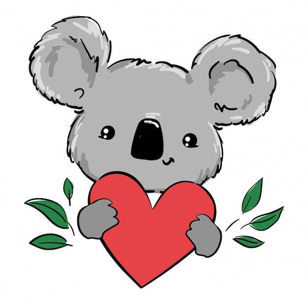 Koala e cuore carini. illustrazione disegnata a mano