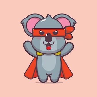 Carino koala eroe fumetto illustrazione vettoriale
