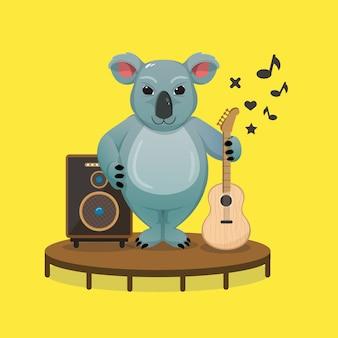 Koala sveglio che tiene una chitarra acustica nella celebrazione della giornata australiana