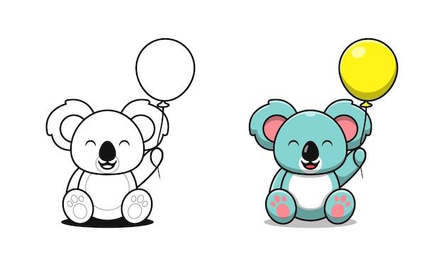 Koala carino con palloncini da colorare cartoni animati per bambini