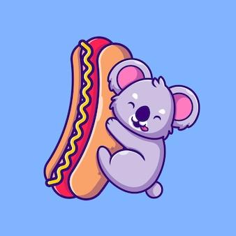 Carino, koala, presa a terra, grande, hot dog, cartone animato, icona, illustrazione. concetto di icona cibo animale isolato. stile cartone animato piatto