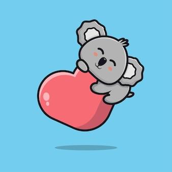 Carino koala che tiene cuore icona del fumetto illustrazione