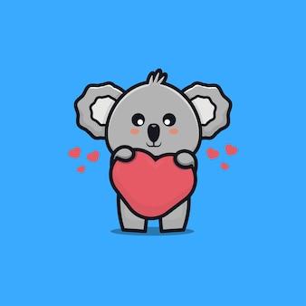 Illustrazione sveglia dell'icona del fumetto di amore della holding del koala