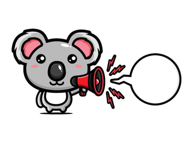 Carino koala che tiene un megafono