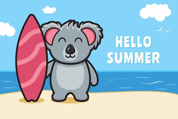 Simpatico koala che tiene la tavola da nuoto con un'illustrazione dell'icona del fumetto dell'insegna di saluto di estate