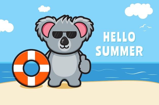 Simpatico koala che tiene l'anello di nuoto con un'illustrazione dell'icona del fumetto dell'insegna di saluto di estate
