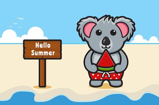 Simpatico koala che tiene in mano un'anguria con un'illustrazione dell'icona del fumetto dell'insegna di saluto dell'estate