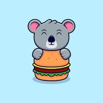 Cute koala hug the big burger mascot cartoon