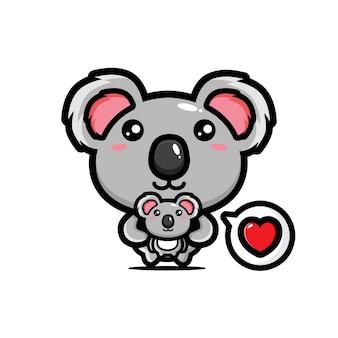 Carino koala che abbraccia un bambino