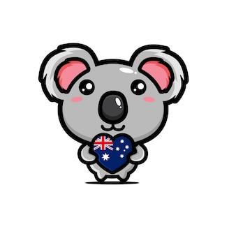 Carino koala che abbraccia il cuore
