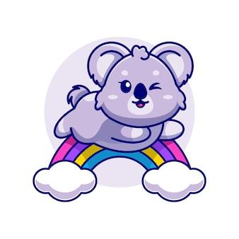 Koala sveglio che salta con il fumetto dell'arcobaleno
