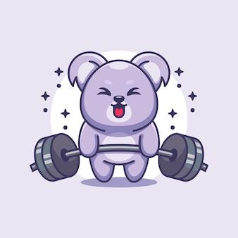 Simpatico cartone animato di sollevamento pesi koala