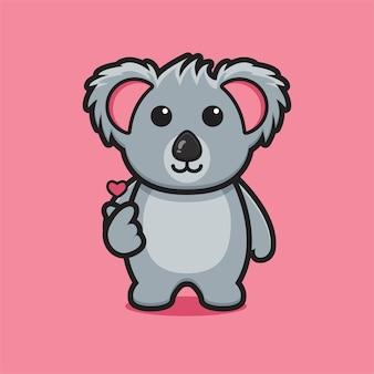 Simpatico personaggio mascotte koala con dito amore posa fumetto icona vettore illustrazione