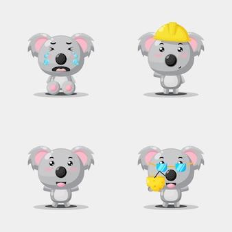 Simpatico set di design mascotte koala