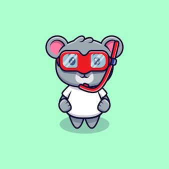 Simpatica mascotte di koala che indossa un cartone animato di occhiali da nuoto