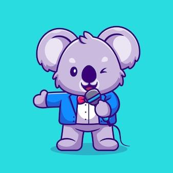 Simpatico koala master of ceremony holding microfono cartoon. stile cartone animato piatto