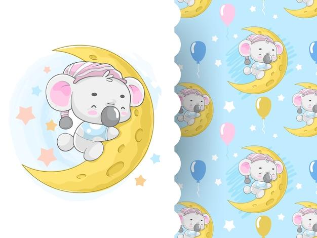 Koala carino sulla luna