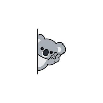 Simpatico koala che sbircia cartone animato, illustrazione vettoriale