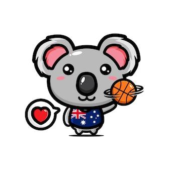 Carino koala giocando a basket