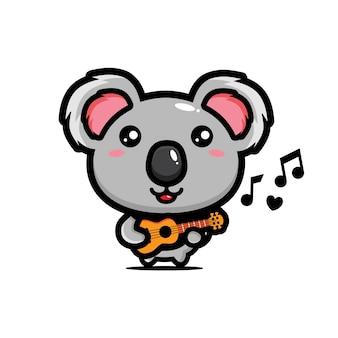 Simpatico koala che suona l'ukulele