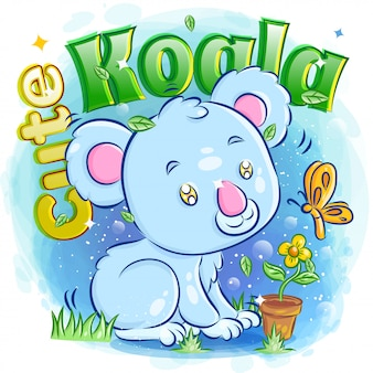 Koala carino giocando con la farfalla