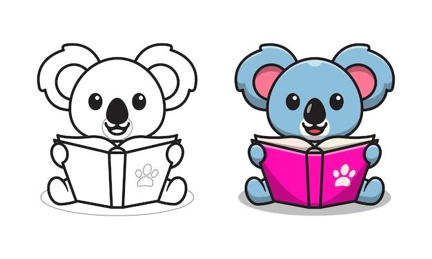 Koala sveglio che legge le pagine da colorare del fumetto del libro