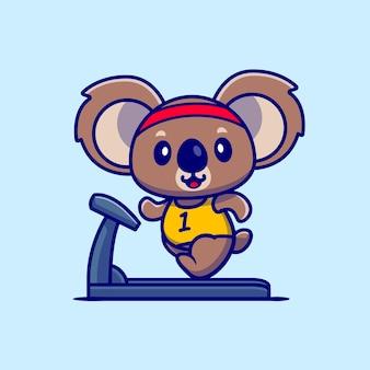Koala sveglio in esecuzione sul tapis roulant cartoon icona illustrazione. concetto dell'icona di sport animale isolato. stile cartone animato piatto