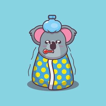 Illustrazione vettoriale di cartone animato malato di koala carino