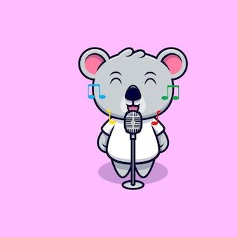 Carino, koala, canto, mascotte, cartone animato
