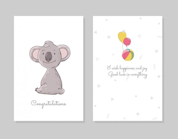 Il koala carino si siede. modello di poster doodle disegnato a mano con airballs. personaggio simpatico orso dei cartoni animati