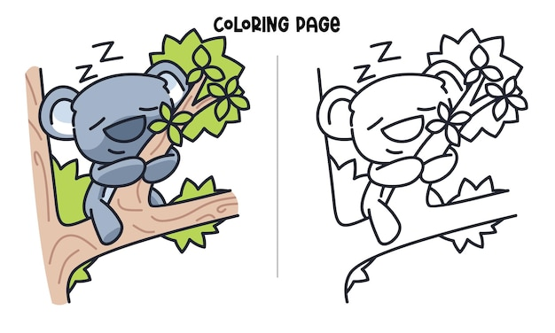 Koala sveglio che dorme sul ramo di albero. pagina da colorare stampabile e libro da colorare