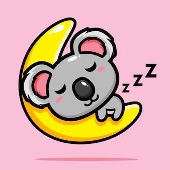 Carino koala che dorme sulla luna