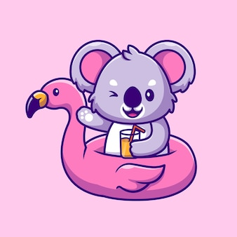 Koala carino estate con pneumatici flamingo e succo d'arancia icona del fumetto illustrazione. concetto di icona cibo animale isolato. stile cartone animato piatto