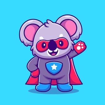 Cartoon carino koala super hero