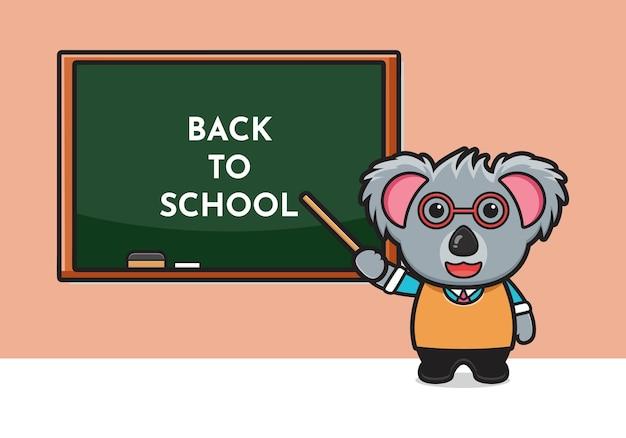 Illustrazione sveglia dell'icona del fumetto dell'insegnante di koala. design piatto isolato in stile cartone animato