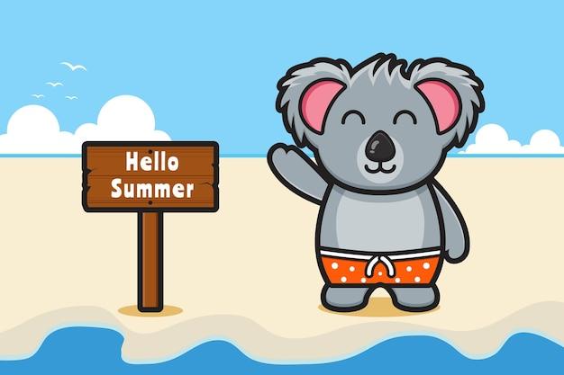 Simpatico koala che agita la mano con un'illustrazione dell'icona del fumetto dell'insegna di saluto dell'estate
