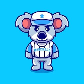 Koala carino che indossa l'uniforme da baseball