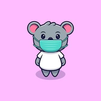 Cartoon carino koala indossando maschera mascotte