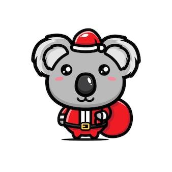 Simpatico koala in costume da babbo natale