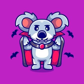 Koala carino che indossa un costume di halloween da vampiro