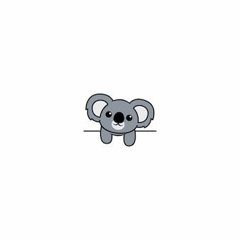 Koala sveglio sopra la parete bianca, illustrazione di vettore Vettore Premium