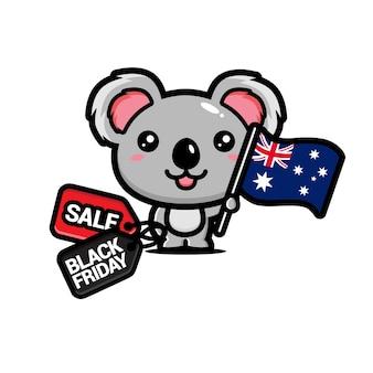 Simpatico koala con bandiera australia e sconto venerdì nero