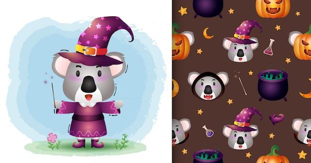 Un simpatico koala con collezione di personaggi di halloween in costume. modelli senza cuciture e illustrazioni