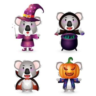 Koala carino con collezione di personaggi di halloween in costume