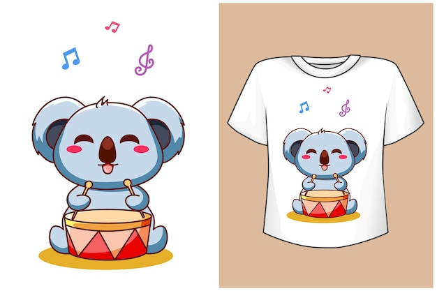 Simpatico koala con maglietta a tamburo